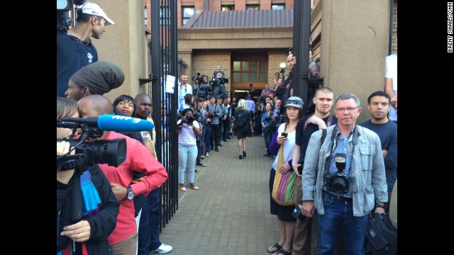 PRETORIA, SOUTH AFRICA: The gauntlet.... Media awaits the arrival of Oscar Pistorius at the High Court before the verdict hearing of his trial over the killing of his model girlfriend Reeva Steenkamp. Photo by CNN's Brent Swails, September 11. Follow Brent (@bsswails) and other CNNers along on Instagram at instagram.com/cnn.