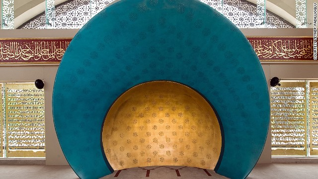 "She purposely painted the mihrab a ""peaceful blue color."""