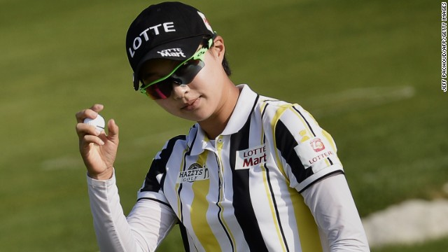 South Korea's Hyo Joo Kim shot a record low major championship round of 61 at the 2014 Evian Championship.
