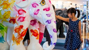 Elephants take over Hong Kong malls