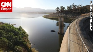 The Sweetwater Dam forms the Sweetwater Reservoir in San Diego County. Water levels are down at the reservoir, which stores water for the San Diego metropolitan area.