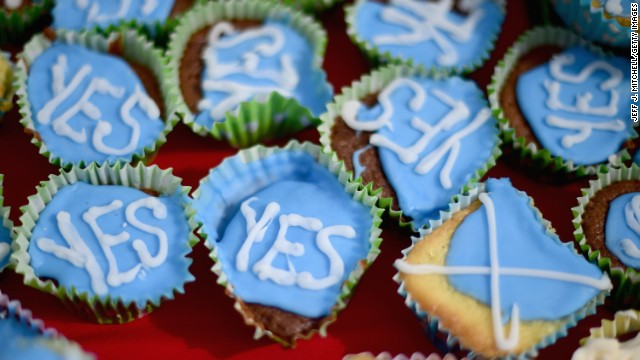 "Members of the ""English Scots for Yes"" campaign hold a tea party Sunday, September 7, in Berwick-upon-Tweed, England, which is near the Scottish border."