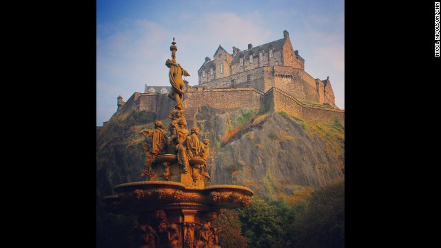EDINBURGH, SCOTLAND: The Edinburgh Castle as seen from Princes Street Gardens, right in the heart of the city. The site has been occupied since the Bronze Age but the oldest surviving component, St Margaret's Chapel, dates from the 12th century. The castle remains one of the country's most popular tourist attractions. Photo by CNN's Nicol Nicolson, September 12. Follow Nicol (<a href='http://instagram.com/nicolnic' target='_blank'>@nicolnic</a>) and other CNNers along on Instagram at <a href='http://instagram.com/cnn' target='_blank'>instagram.com/cnn</a>.