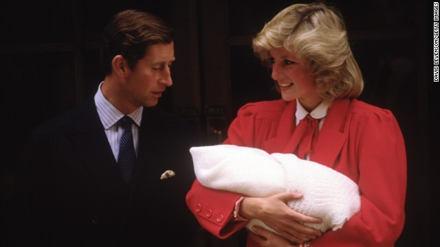 Prince Charles and Princess Diana leave St. Mary's Hospital on September 16, 1984, with newborn Prince Harry.