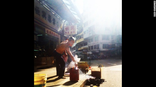 "HONG KONG: ""The air is thick with smoke as this man performs his morning ritual of burning ""Hell Money"" for use by his ancestors in the after life. The money is typically printed in huge denominations like 100 billion dollars and usually has an image of the Jade Emperor on one side and the words ""Bank of Hell"" on the other."" - CNN's Brad Olson. Follow Brad (<a href='http://instagram.com/cnnbrad' target='_blank'>@cnnbrad</a>) and other CNNers along on Instagram at <a href='http://instagram.com/cnn' target='_blank'>instagram.com/cnn</a>."