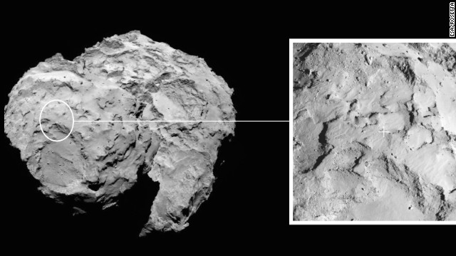 Rosetta took this image of comet 67P/Churyumov-Gerasimenko on September 15. The box on the right shows where the lander will touch down.