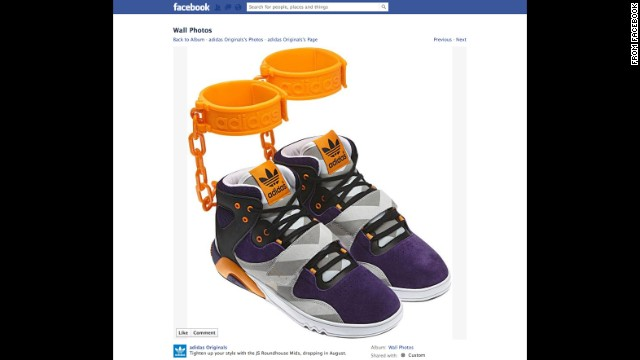 "After advertising the shoe on its Facebook page in June 2012, sports apparel maker Adidas withdrew its plans to sell a controversial sneaker featuring affixed rubber shackles. ""The design of the JS Roundhouse Mid is nothing more than the designer Jeremy Scott's outrageous and unique take on fashion and has nothing to do with slavery,"" Adidas said in a statement. ""We apologize if people are offended by the design and we are withdrawing our plans to make them available in the marketplace."""