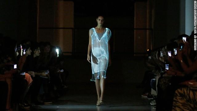 Richard Nicholl showcased his fibre optic slip dress, conceived with Studio XO.