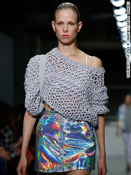 Holographic fabrics and shiny materials formed the basis of his luminescent garments.
