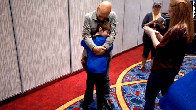 Is there a better surprise for a Trekkie than a visit from Patrick Stewart? The actor took some time out from his appearance at Atlanta's Dragon Con on August 29 to meet a fan named Dawn Garrigus. The young girl has mitochondrial disease and asked to meet Stewart through the Make-A-Wish Foundation. Stewart talked with her for a while, signed autographs and gave her a heartwarming hug.