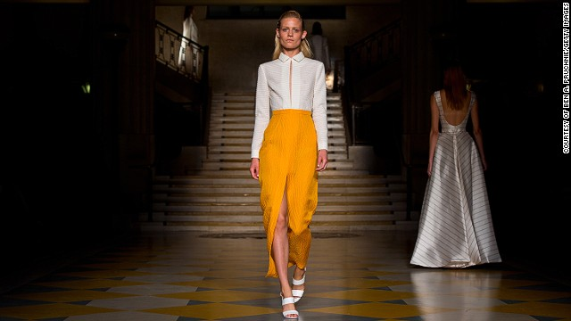 Emilia Wickstead sleek garments featured high waists and floor-length gowns.