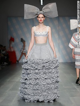 The <a href='http://www.cnn.com/2014/09/17/world/london-fashion-week-memorable-fashion/index.html?hpt=hp_c3'>UK-based</a> design trio married intricate knits with a paired down color scheme of black, gray, white, blue and red.