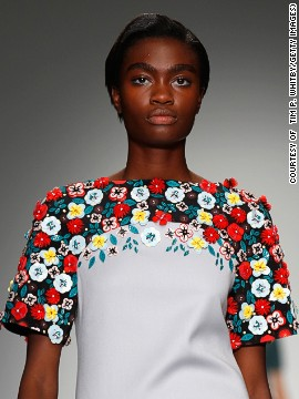 Holly Fulton re-invigorated <a href='http://www.cnn.com/2014/09/17/world/london-fashion-week-memorable-fashion/index.html?hpt=hp_c3'>the 60's silhouette</a> with embellished flowers and geometric prints.