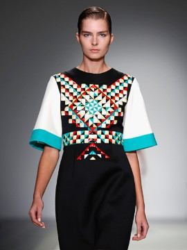 The collection also featured a folkloric sensibility with intricate patterns.
