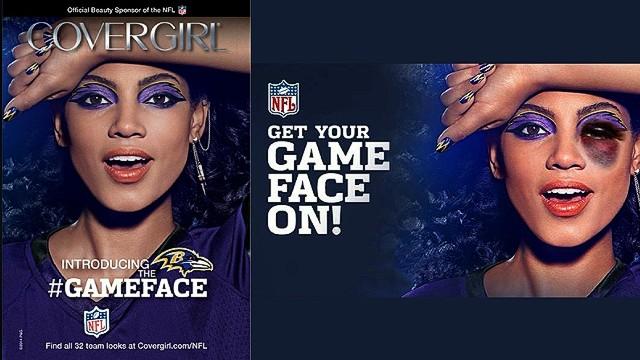 Activistas usan un cártel de CoverGirl para criticar a la NFL por violencia