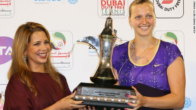 Haya's wider role includes ambassadorial duties on behalf of Dubai, including presenting Czech tennis player Petra Kvitova with the WTA title she won in the emirate last year.