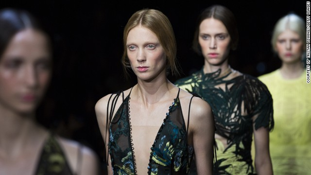 Erdem's collection was infused with greens and nature-inspired detailing.