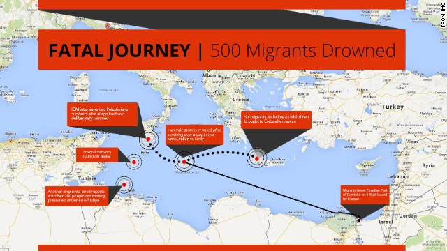 500 Migrants drowned in the Mediterranean Sea when their boat was intentionally sunk while bound for Europe.