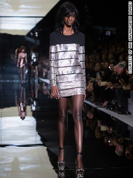 Sequins and metallics were combined with sleek structures.