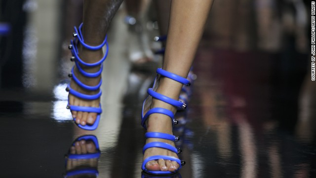 The models wore heels that wrapped the foot in leather coils.
