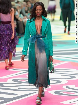 Burberry reinvigorated <a href='http://www.cnn.com/2014/09/17/world/london-fashion-week-memorable-fashion/index.html?hpt=hp_c3'>their classic tailoring</a> with a bright color scheme.