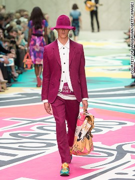 A classic two-piece suit was re-energized with hot pink.