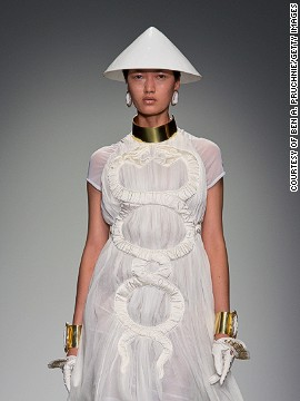 Each outfit was topped with a cone ... is this the future of head wear?