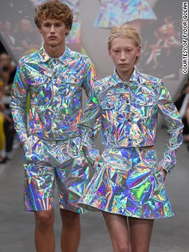 "Fyodor Golan described <a href='http://www.cnn.com/2014/09/17/world/london-fashion-week-memorable-fashion/index.html?hpt=hp_c3'>their collection</a> as ""Digital Romanticism."""