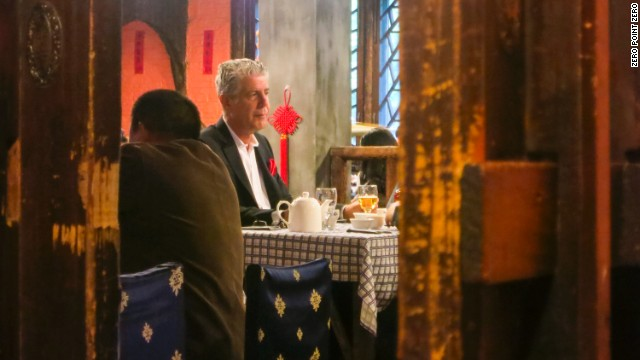 Bourdain ventures to Di Shui Dong for deep-fried, cumin-encrusted Hunan ribs.