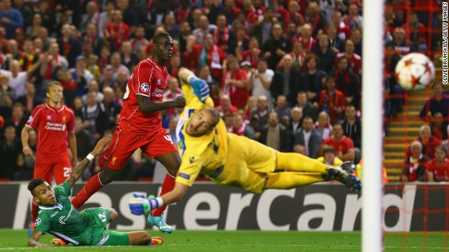 Striker Mario Balotelli registered his first goal for his new club Liverpool late in its European Champions League tie with Bulgarian minnows Ludogorets, prodding home neatly from inside the area.