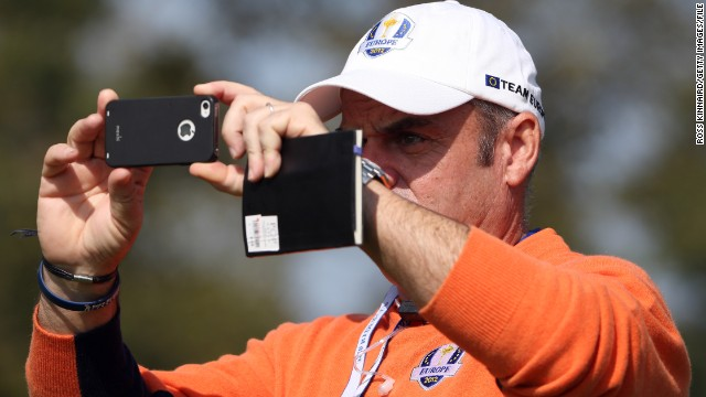European Ryder Cup captain Paul McGinley also made use of his phone during the 2012 event, in which he was a vice-captain, taking some snaps for posterity.