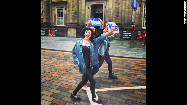 "GLASGOW, SCOTLAND: ""Carnival atmosphere in Glasgow and not a Better Together campaigner to be seen. The Yes campaign dominated Buchanan Street in Central Glasgow, with singalongs as prominent as speeches. By contrast, No campaigners were much more evident in Edinburgh, though many were connected to a controversial Orange Order March in favour of the union."" - CNN's Nicol Nicolson, September 14. Follow Nicol (@nicolnic) and other CNNers along on Instagram at instagram.com/cnn."