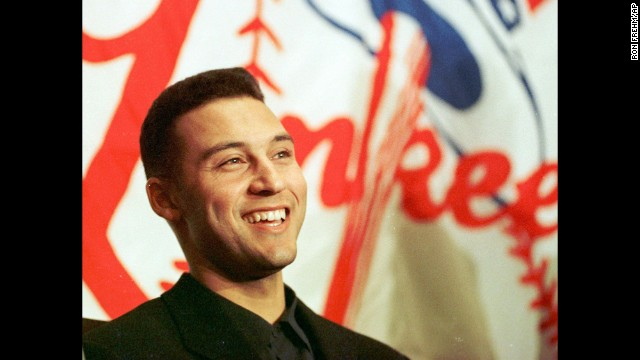 Jeter smiles at a November 1996 news conference after he was named the American League Rookie of the Year.