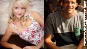 This combination of handout images created from undated images received from Britain's Foreign and Commonwealth Office on September 16, 2014 shows British students, Hannah Witheridge (L) and David Miller (R).