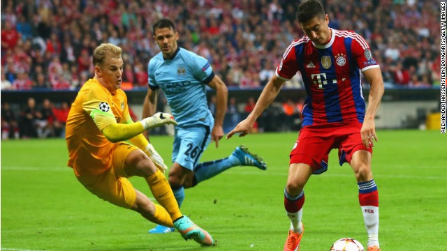 Manchester City goalkeeper Joe Hart produced a number of impressive saves to frustrate Bayern Munich.