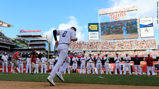 Jeter is introduced to the crowd at Minnesota's Target Field before playing in his final All-Star Game in July.