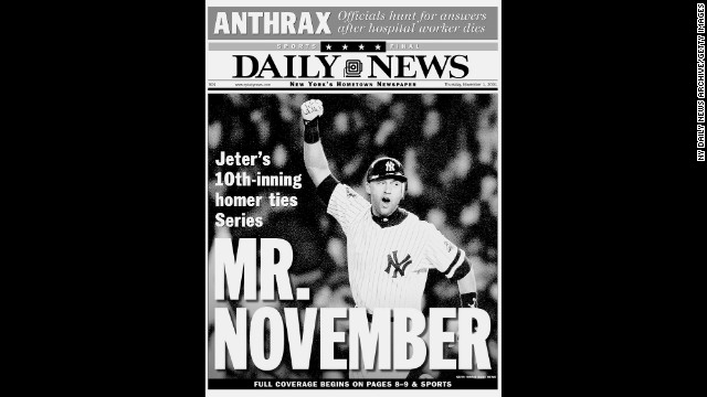 """The New York Daily News called Jeter """"Mr. November"""" after his 10th-inning home run tied the 2001 World Series at two games apiece. Although the Yankees lost the Series that year to Arizona, they had won four championships in Jeter's first five seasons."""