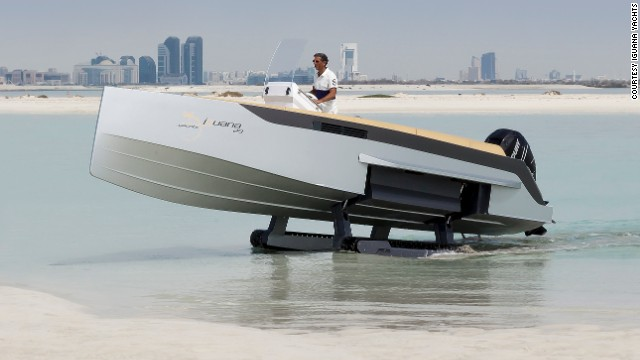 "Iguana by name, Iguana by nature. This unusual looking speed boat has ""legs"" which allow it to ""walk"" out of the water."