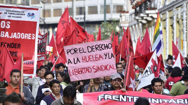 Trabajadores de Ecuador protestan por el proyecto del nuevo Código Laboral