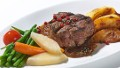 A fillet steak dish, one of the in-flight meals delivered to people's homes by German company Air Food One.