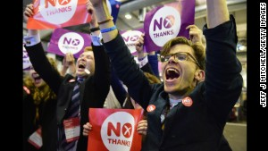 People against the separation of Scotland from the United Kingdom celebrate the final result of the referendum vote in Edinburgh on Friday, September 19.