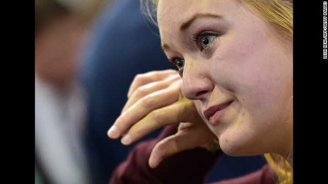 A supporter of an independent Scotland cries as referendum results are announced September 19 in Edinburgh.