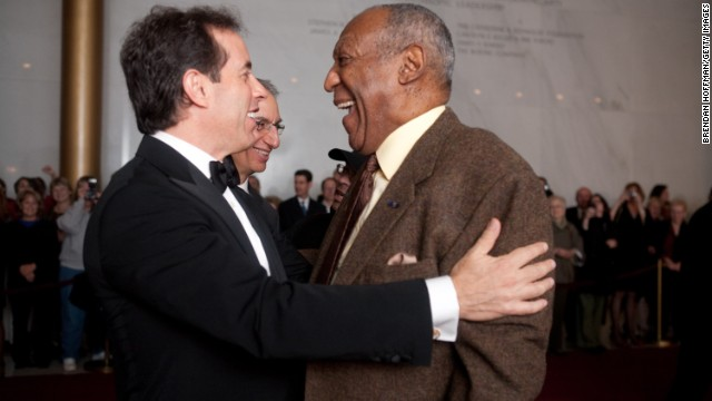 Comedian Jerry Seinfeld and Cosby embrace at the Mark Twain Prize for American Humor at Washington's Kennedy Center in 2009. Cosby declined the prize twice before accepting. His mother read Twain to him as a child -- a huge influence on his storytelling.