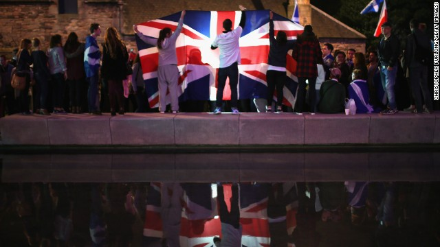 SEPTEMBER 19 - EDINBURGH, SCOTLAND: People celebrate the<a href='http://edition.cnn.com/2014/09/19/world/europe/scotland-independence-vote/index.html?hpt=hp_t1'> result of a historic referendum on Scottish independence</a>. A majority of voters rejected the possibility of Scotland breaking away from the rest of the United Kingdom.