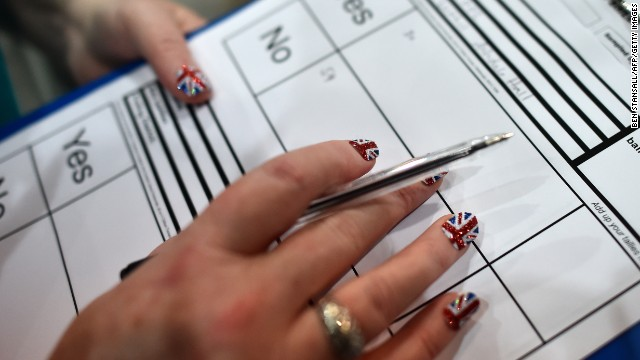Ballot papers are counted in Aberdeen after the polls closed on September 18.