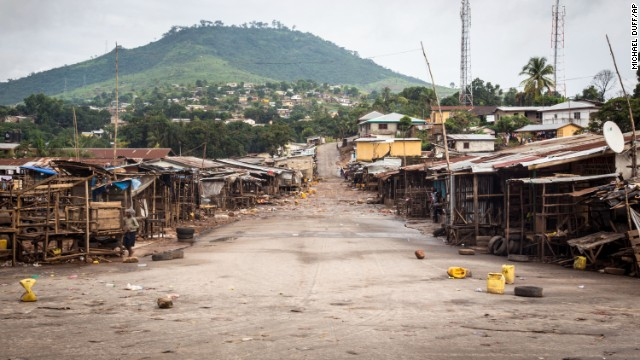 A market area stands empty September 19 in Freetown.
