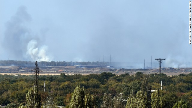 Smoke rises after an explosion at a weapons factory controlled by pro-Russia rebels near Donetsk on September 20. The cause of the explosion was not immediately known.