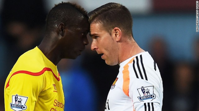 Balotelli, who has returned to England from AC Milan, was booked after clashing with Hammers goalkeeper Adrian.