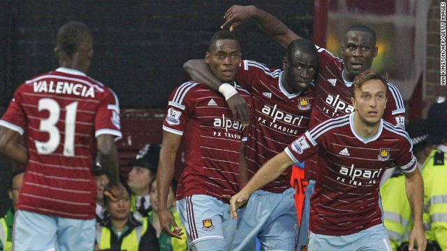 Senegalese striker Diafra Sakho (second left) celebrates with his teammates after making it 2-0 with his third goal for West Ham since signing from French club Metz.
