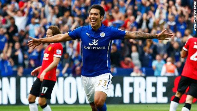 Leonardo Ulloa celebrates his second and Leicester's fifth in the 5-3 victory over Manchester United.